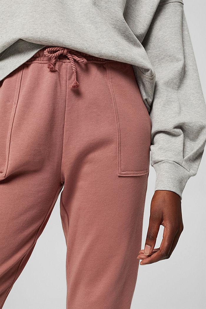 Sweatbroek in jogger-stijl, organic cotton, DARK OLD PINK, detail image number 2