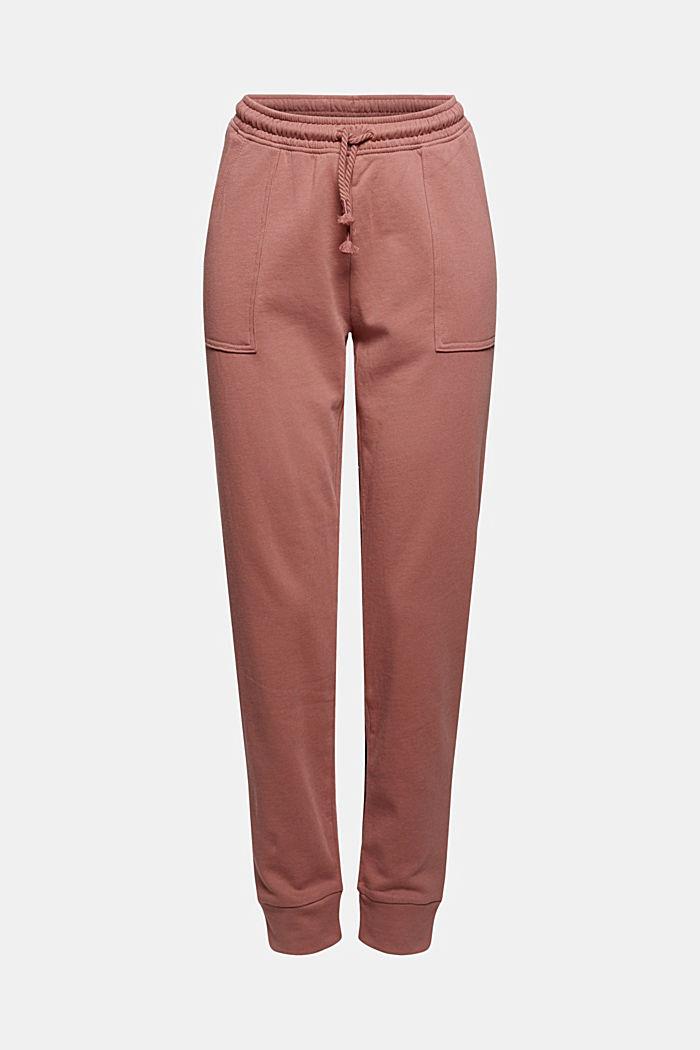 Sweatbroek in jogger-stijl, organic cotton, DARK OLD PINK, detail image number 8