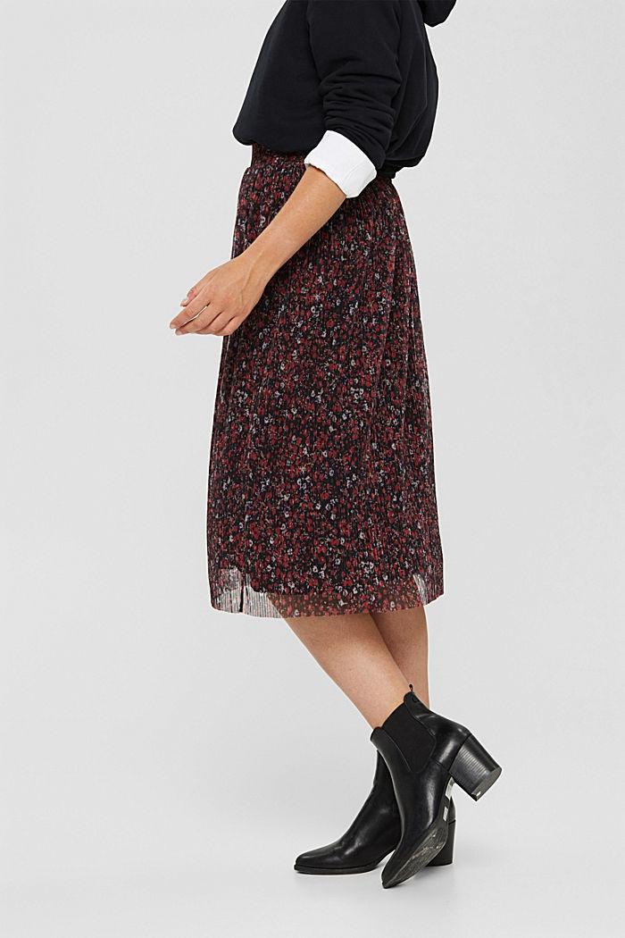 Jupe mille-fleurs en mesh plissé, BLACK, detail image number 0