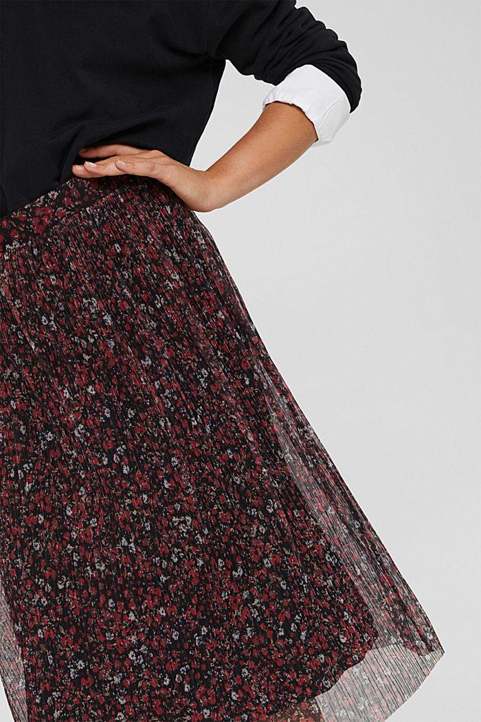 Jupe mille-fleurs en mesh plissé, BLACK, detail image number 2