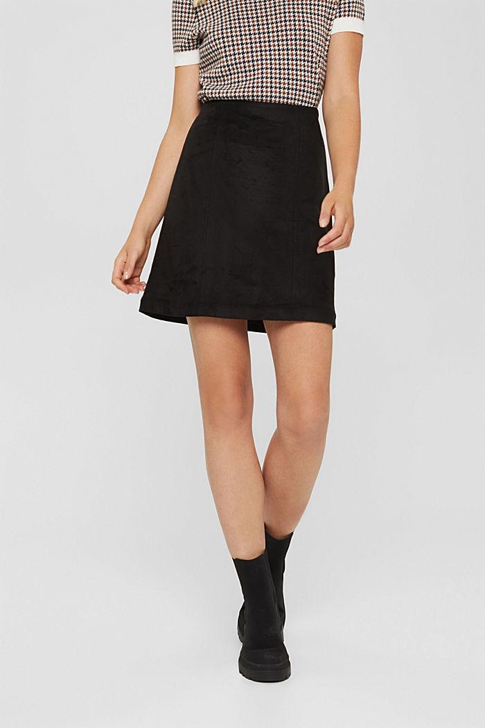 Faux suede mini skirt, BLACK, detail image number 0