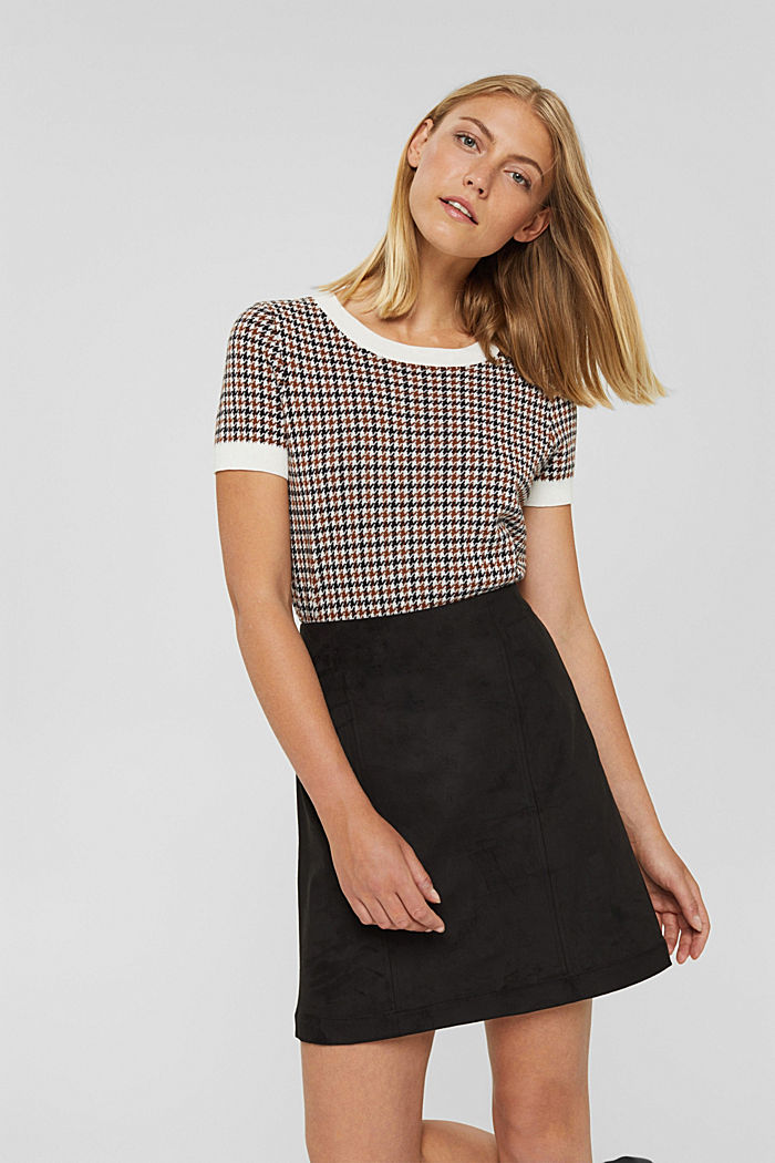 Faux suede mini skirt, BLACK, detail image number 5