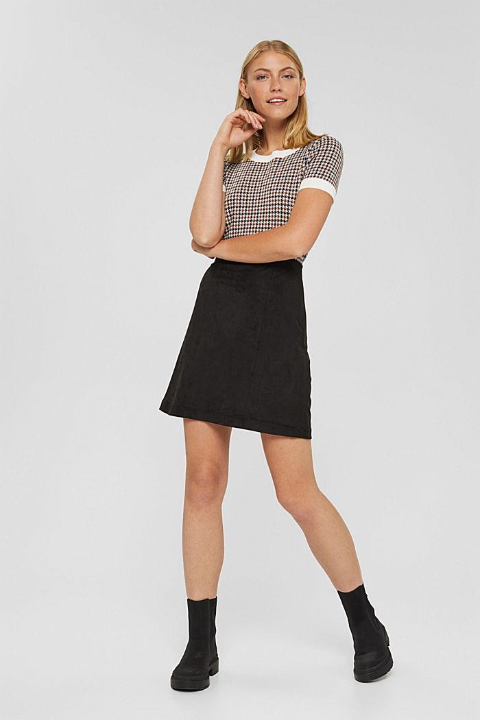 Faux suede mini skirt, BLACK, detail image number 6