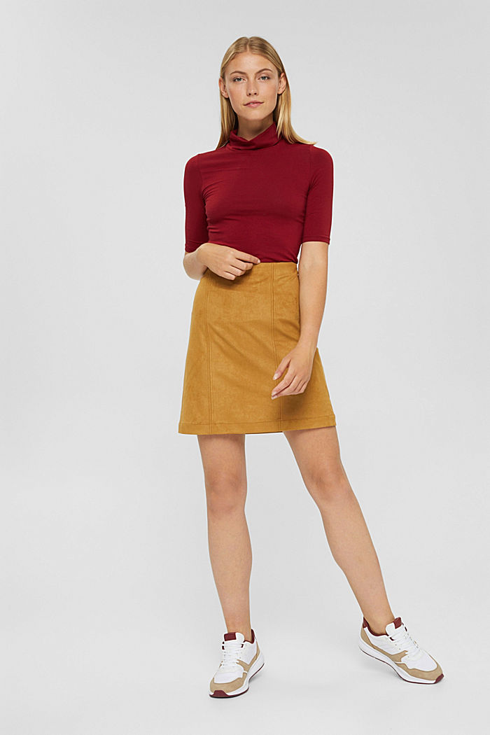 Faux suede mini skirt, CAMEL, detail image number 5