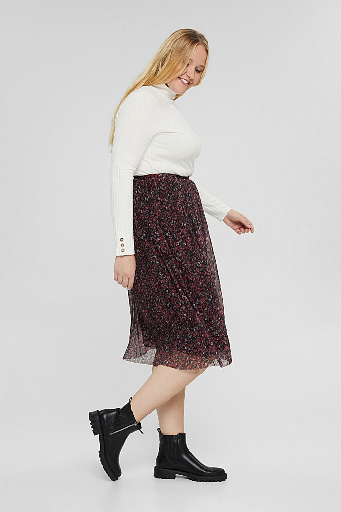 CURVY mille-fleurs skirt made of pleated mesh