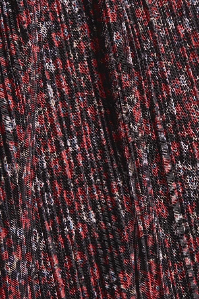 CURVY rok van geplooide mesh met millefleursprint, BLACK, detail image number 4
