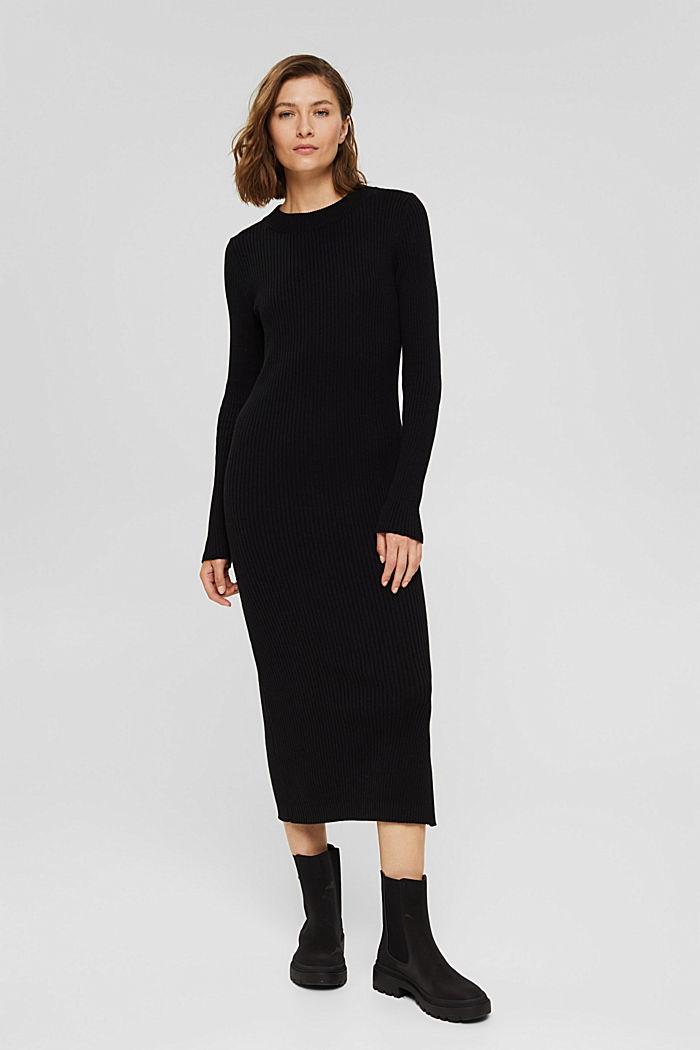 Robe longueur midi en maille côtelée à teneur en coton biologique, BLACK, detail image number 0