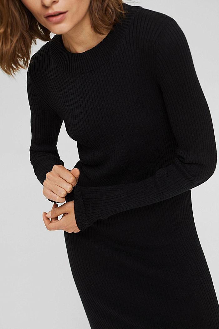 Robe longueur midi en maille côtelée à teneur en coton biologique, BLACK, detail image number 3