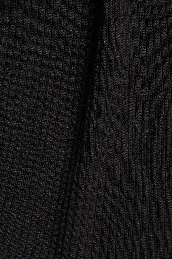 Robe longueur midi en maille côtelée à teneur en coton biologique, BLACK, detail image number 4
