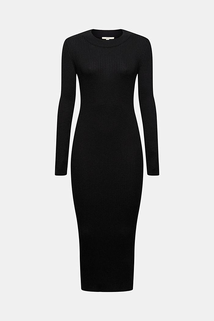 Robe longueur midi en maille côtelée à teneur en coton biologique, BLACK, detail image number 6