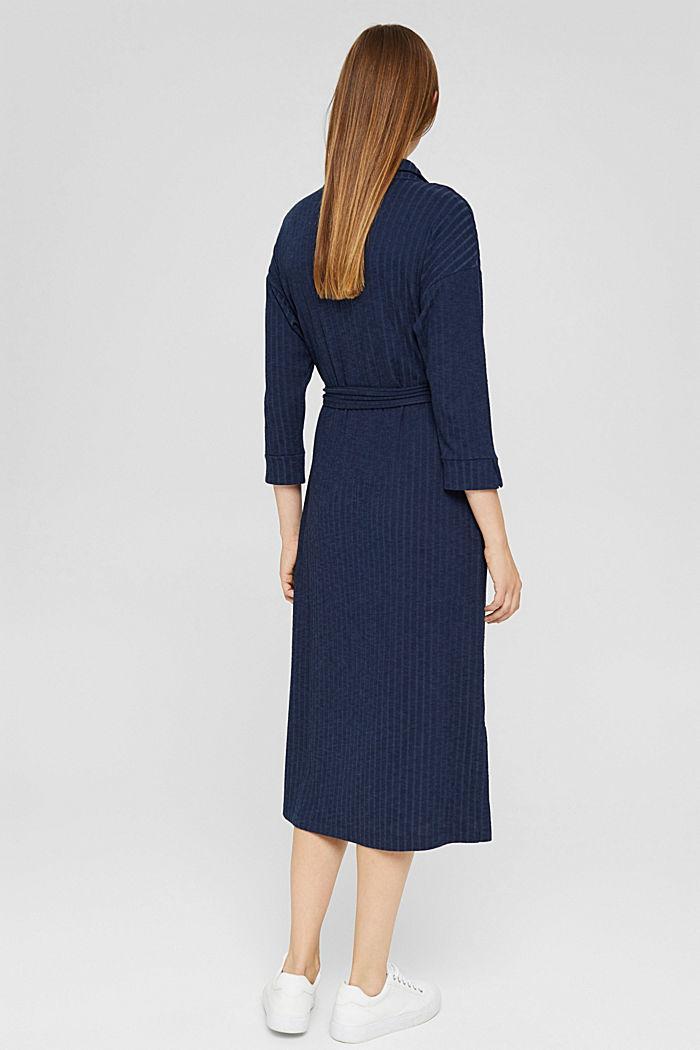 Ribgebreide jurk met pololook, NAVY, detail image number 2