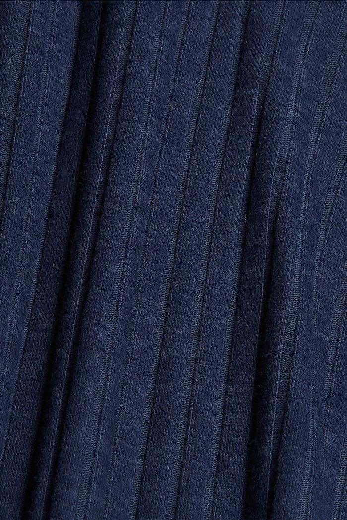 Ribgebreide jurk met pololook, NAVY, detail image number 4