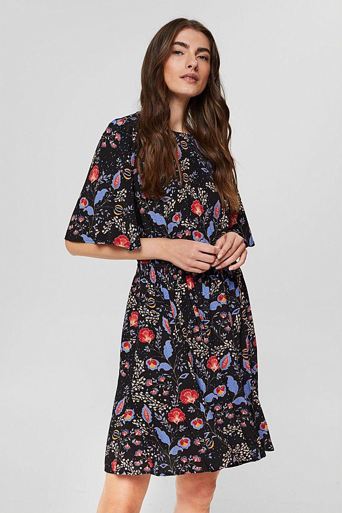 Tailliertes Flower-Kleid mit LENZING™ ECOVERO™, BLACK, detail image number 0