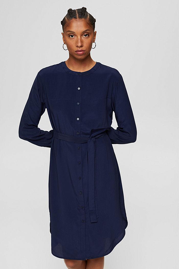 Blusenkleid mit Gürtel, LENZING™ ECOVERO™, NAVY, detail image number 0