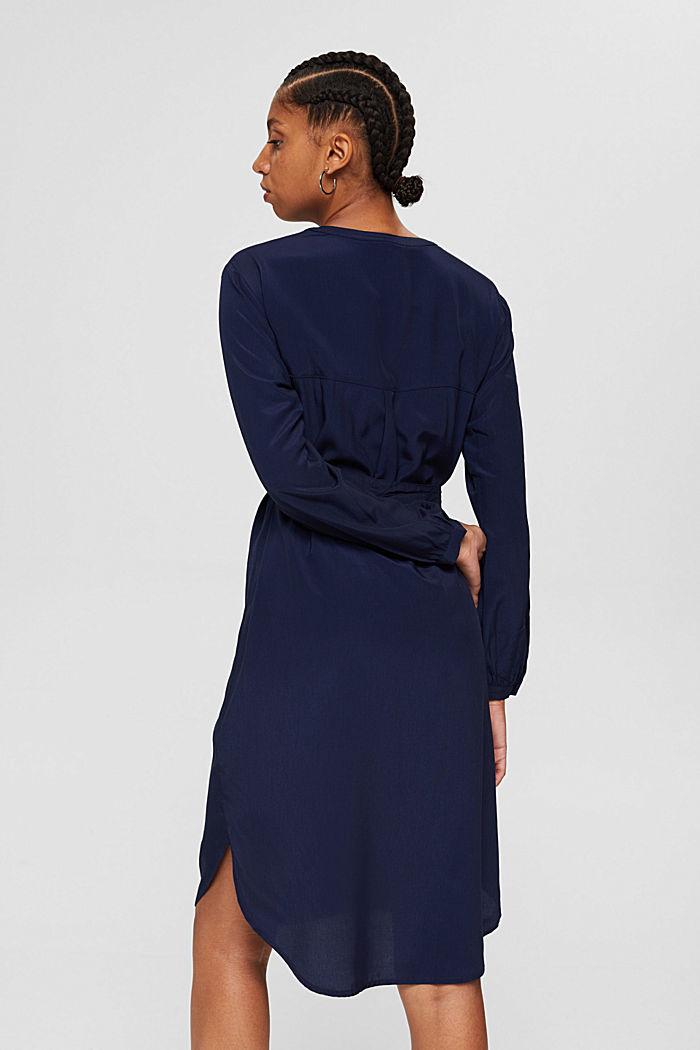 Blusenkleid mit Gürtel, LENZING™ ECOVERO™, NAVY, detail image number 2