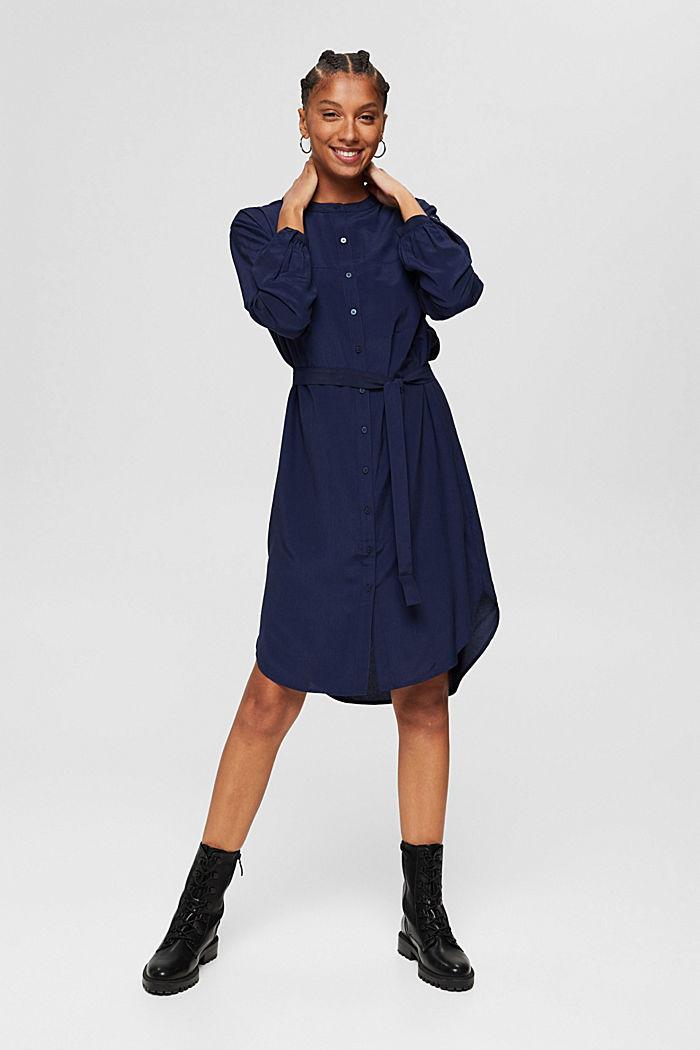 Blusenkleid mit Gürtel, LENZING™ ECOVERO™, NAVY, detail image number 6