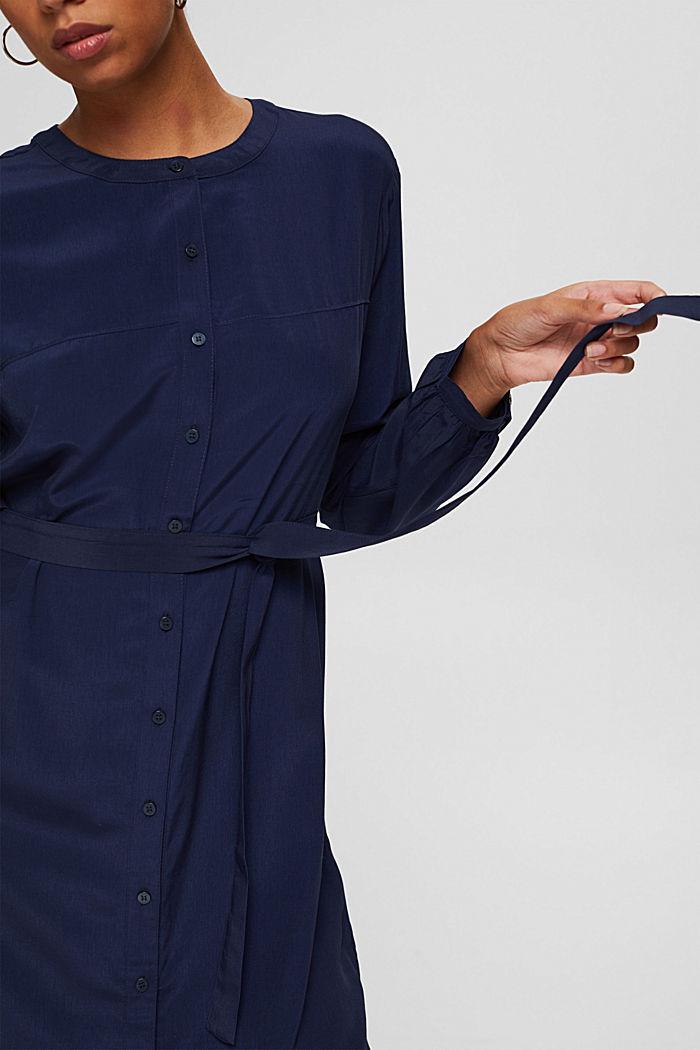 Blusenkleid mit Gürtel, LENZING™ ECOVERO™, NAVY, detail image number 3