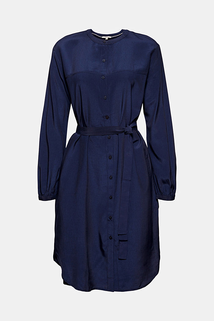 Blusenkleid mit Gürtel, LENZING™ ECOVERO™, NAVY, detail image number 7
