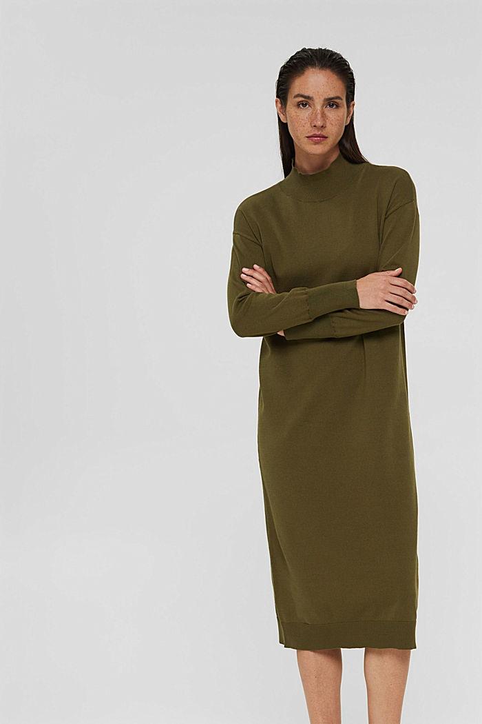 Gebreide jurk van een katoenmix, DARK KHAKI, detail image number 0