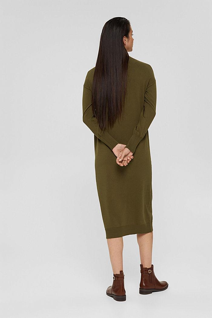 Gebreide jurk van een katoenmix, DARK KHAKI, detail image number 2