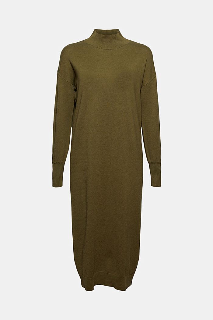Gebreide jurk van een katoenmix, DARK KHAKI, detail image number 5