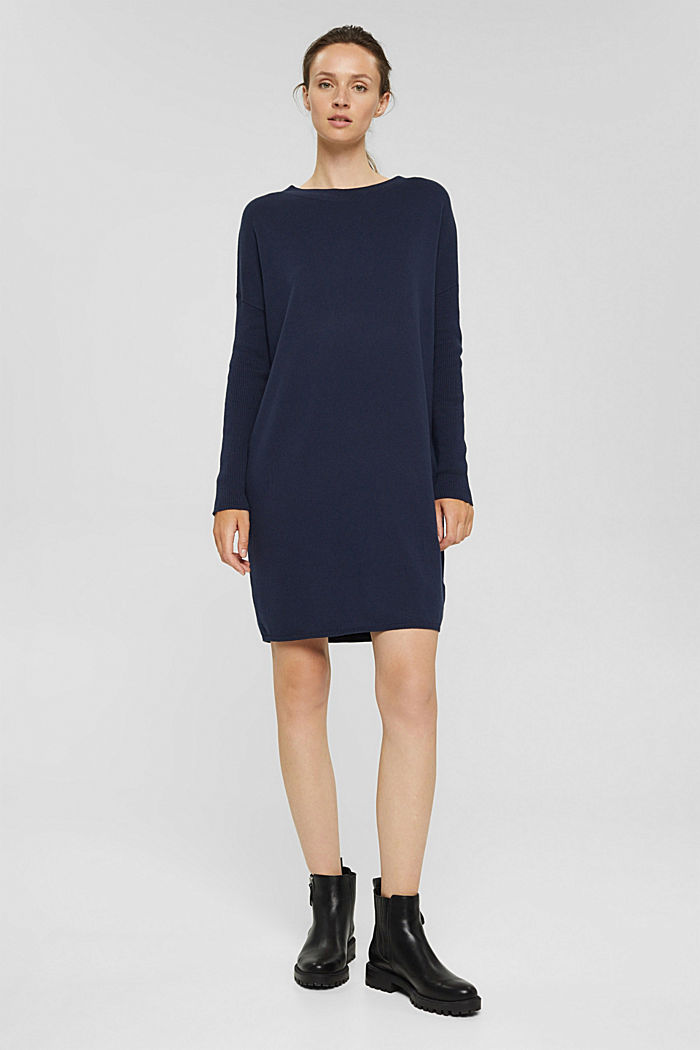 Knitted dress in blended cotton, NAVY, detail image number 0