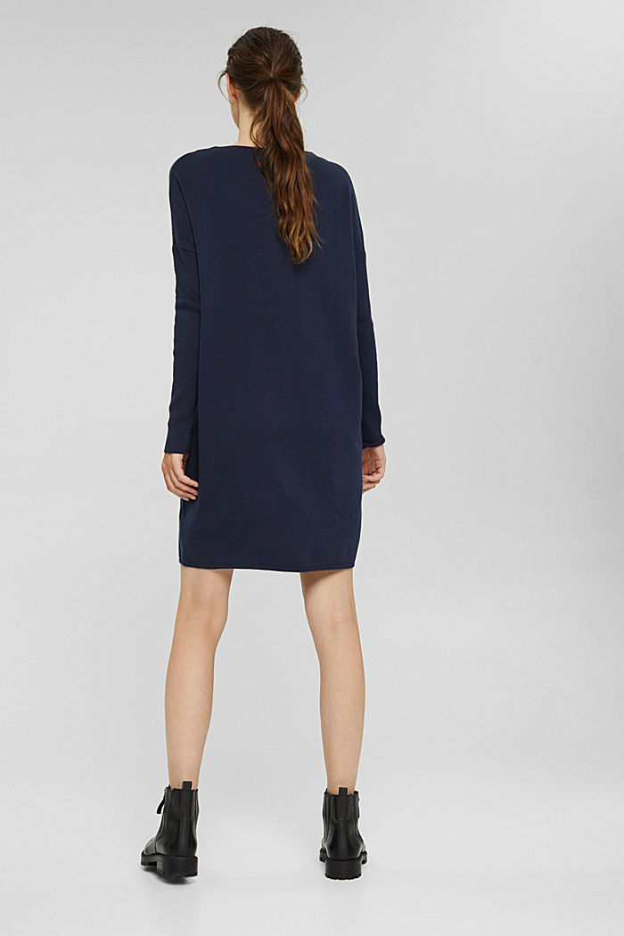 Knitted dress in blended cotton, NAVY, detail image number 2