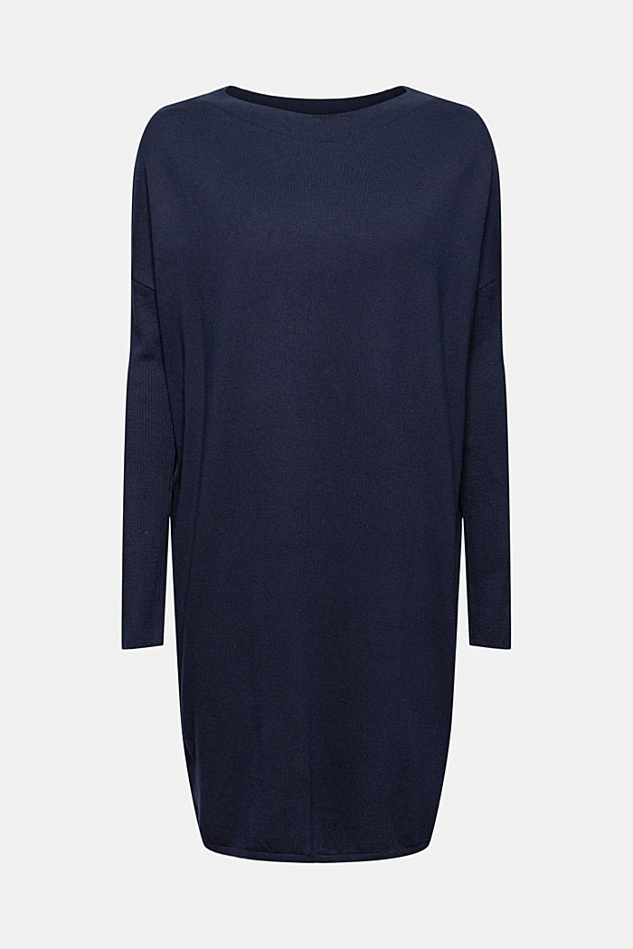 Knitted dress in blended cotton, NAVY, detail image number 5