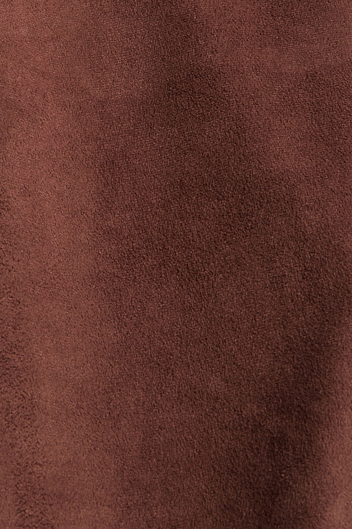 Recycelt: Hemdblusenkleid in Lederoptik, RUST BROWN, detail image number 4