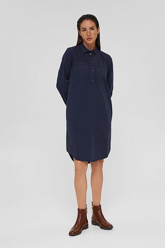 Shirt dress made of 100% Pima cotton