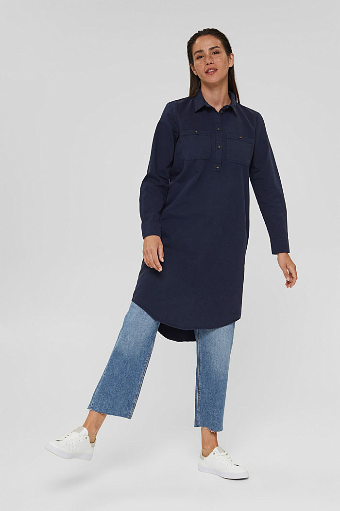 Shirt dress made of 100% Pima cotton, NAVY, detail image number 1