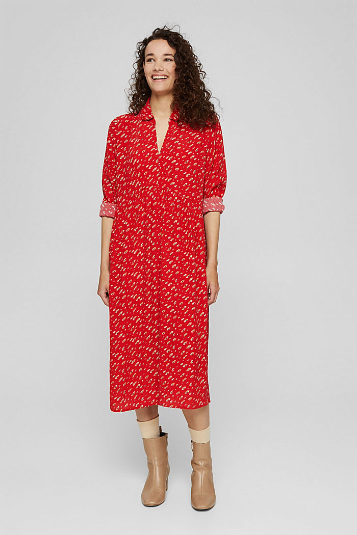Floral midi dress in LENZING™ ECOVERO™, RED, detail image number 0
