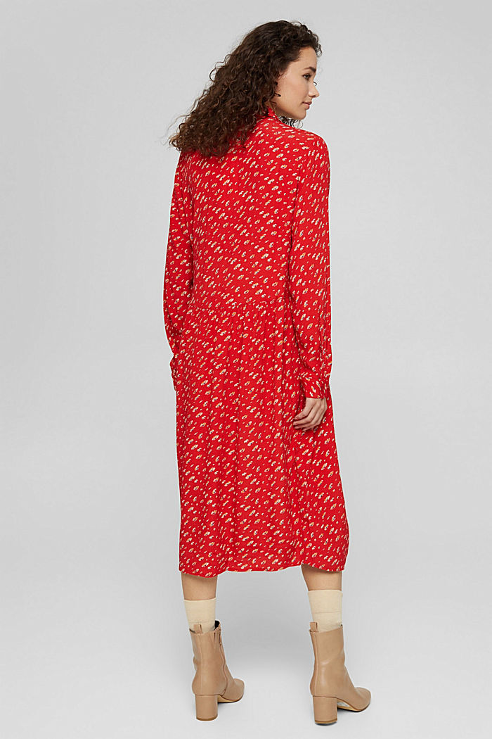 Floral midi dress in LENZING™ ECOVERO™, RED, detail image number 2
