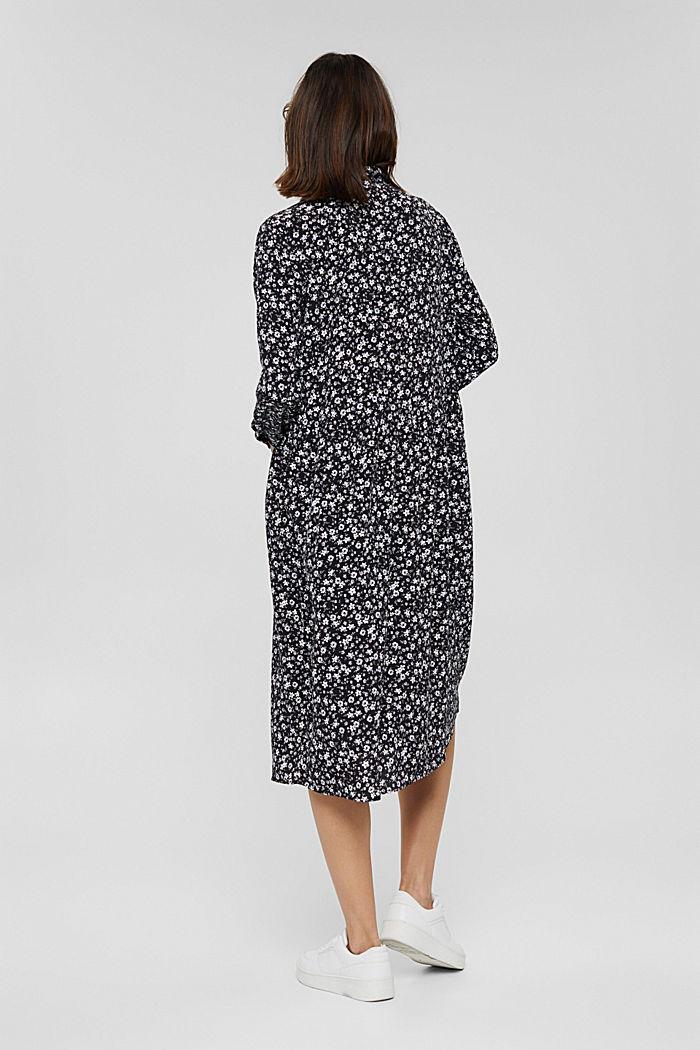 Robe longueur midi à fleurs de style chemisier, BLACK, detail image number 2