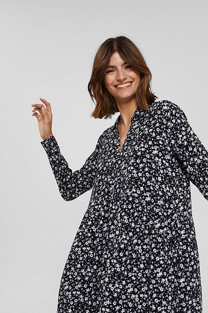 Robe longueur midi à fleurs de style chemisier, BLACK, detail image number 5