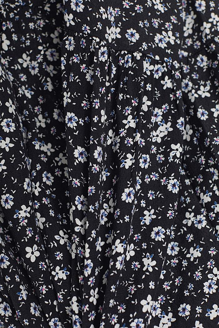 Robe longueur midi à fleurs de style chemisier, BLACK, detail image number 4