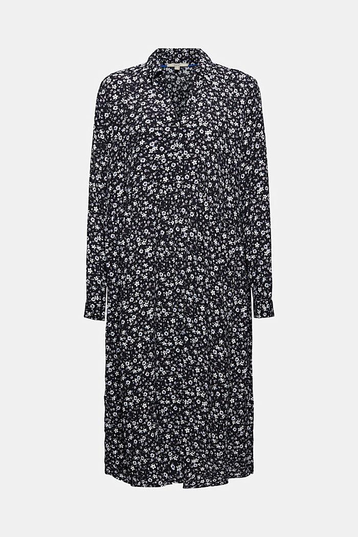 Robe longueur midi à fleurs de style chemisier, BLACK, detail image number 7
