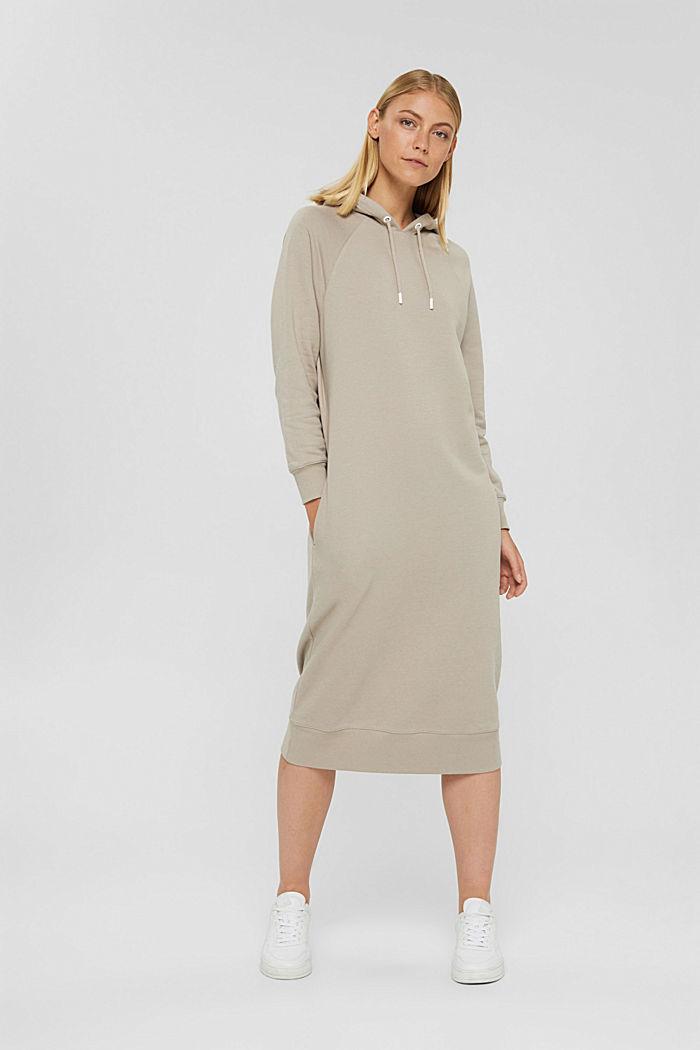 Sweathoodie-Kleid aus 100% Baumwolle, LIGHT TAUPE, detail image number 0