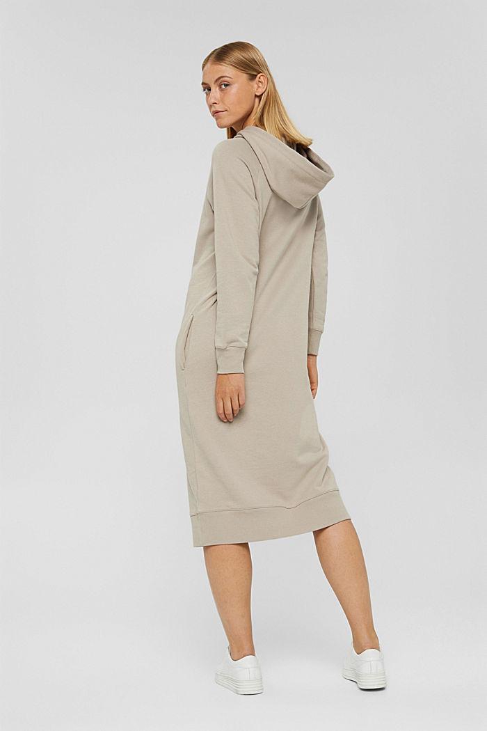 Sweathoodie-Kleid aus 100% Baumwolle, LIGHT TAUPE, detail image number 2