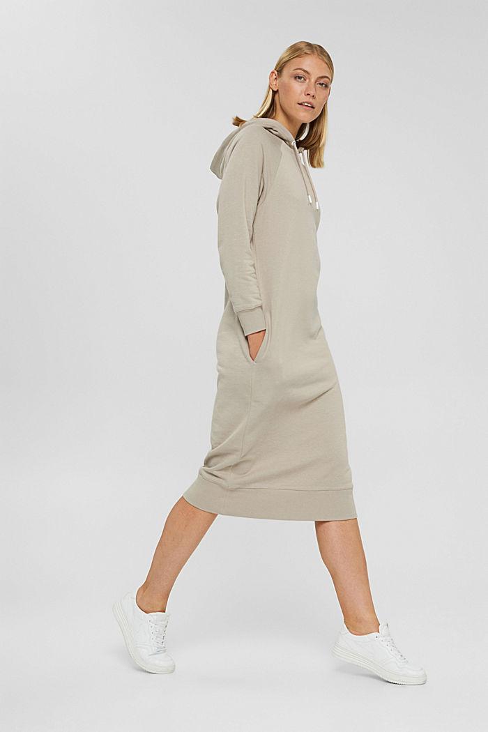 Sweathoodie-Kleid aus 100% Baumwolle, LIGHT TAUPE, detail image number 1
