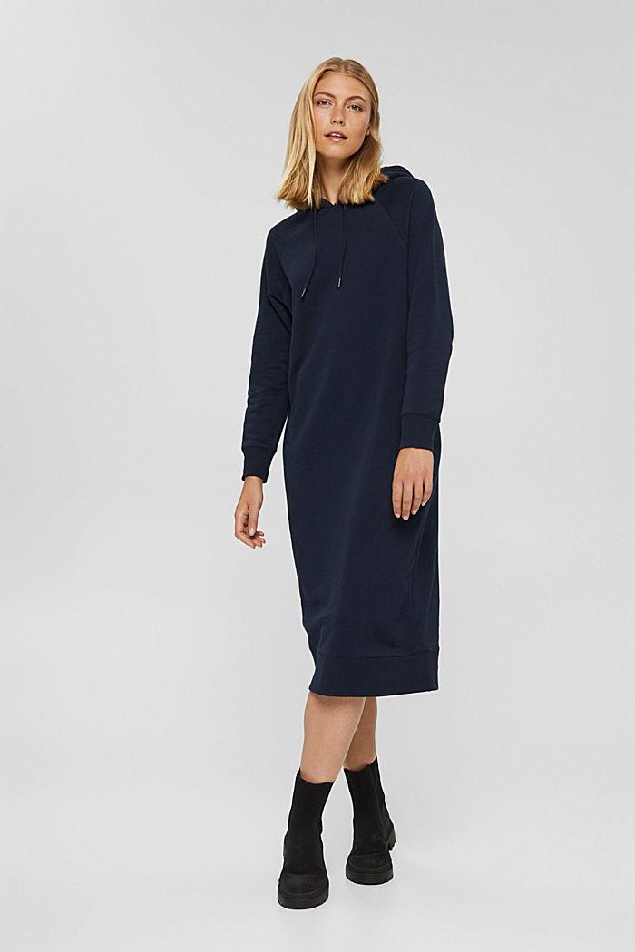 Sweathoodie-jurk van 100% katoen, NAVY, detail image number 1