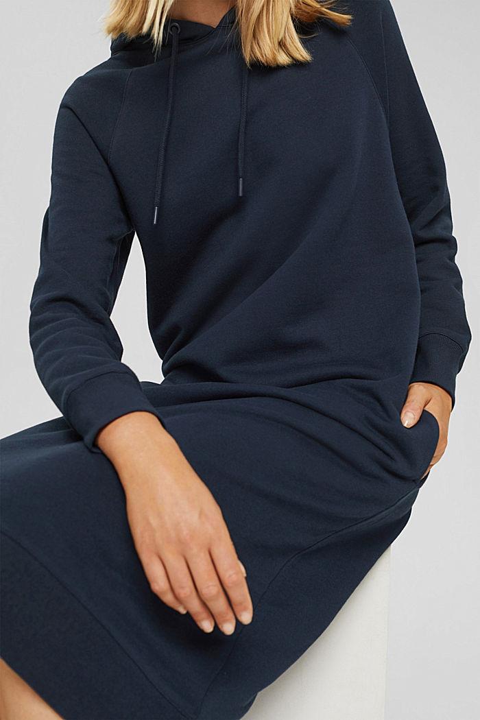 Sweathoodie-jurk van 100% katoen, NAVY, detail image number 6