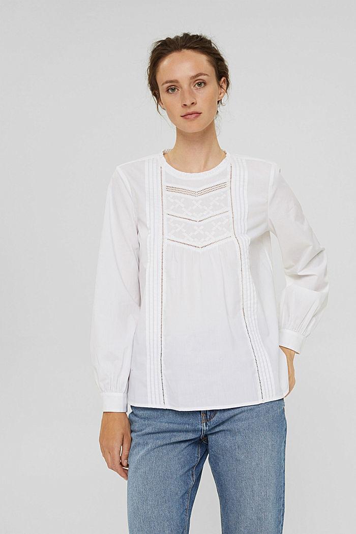 Bluse mit Stickerei und Biesen, 100% Baumwolle, WHITE, detail image number 0