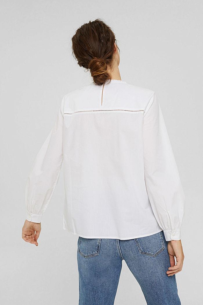 Bluse mit Stickerei und Biesen, 100% Baumwolle, WHITE, detail image number 3