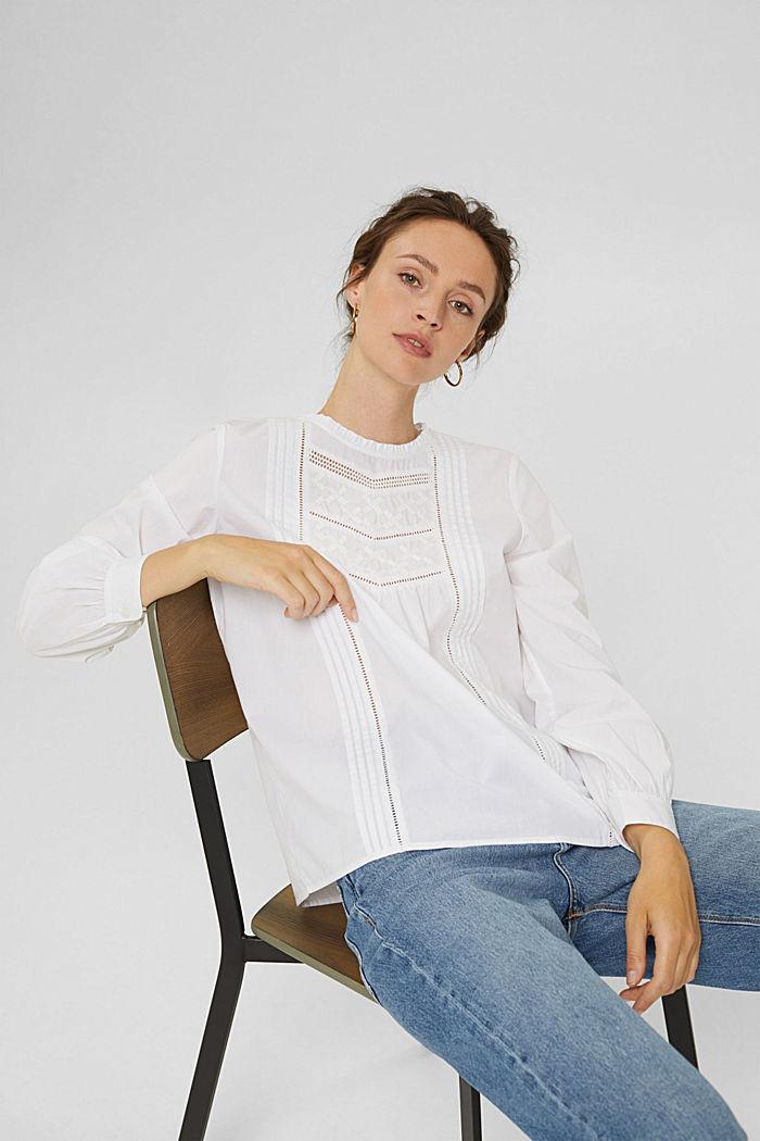 Bluse mit Stickerei und Biesen, 100% Baumwolle, WHITE, detail image number 6