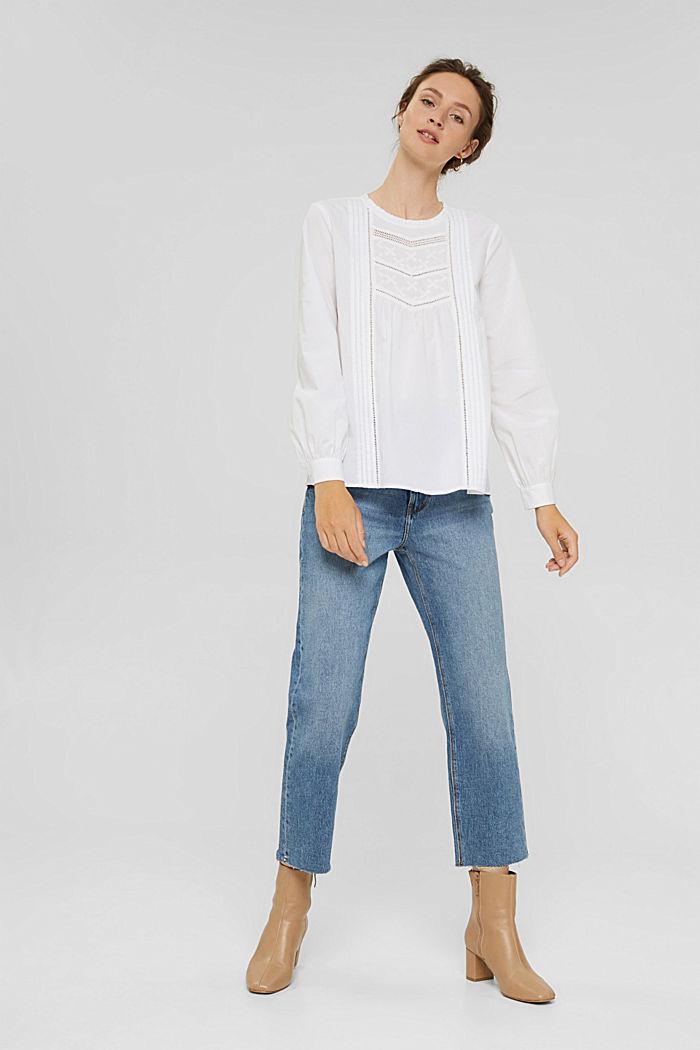 Bluse mit Stickerei und Biesen, 100% Baumwolle, WHITE, detail image number 1
