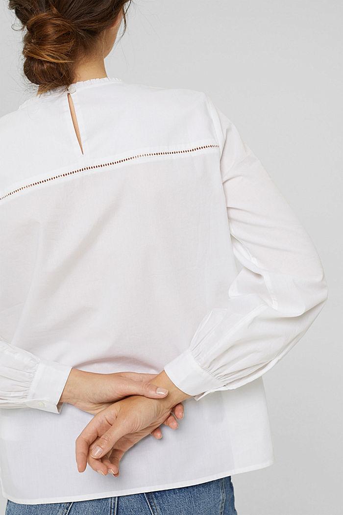 Bluse mit Stickerei und Biesen, 100% Baumwolle, WHITE, detail image number 5