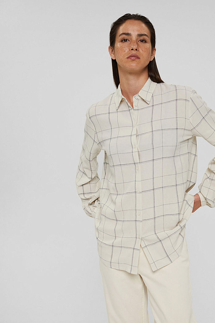 Van een linnenmix: geruite overhemdblouse, OFF WHITE, detail image number 0