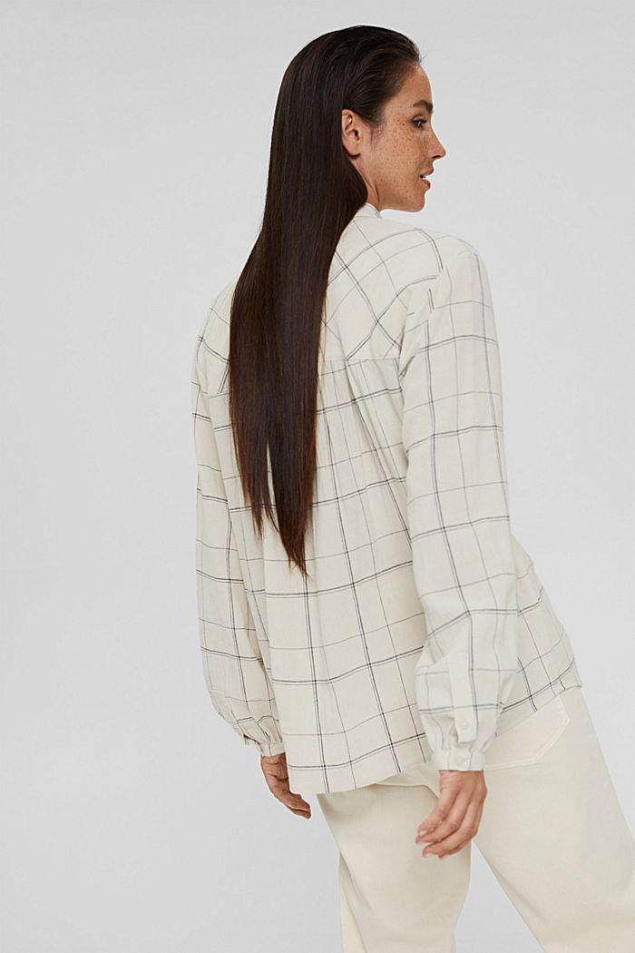 Van een linnenmix: geruite overhemdblouse, OFF WHITE, detail image number 3