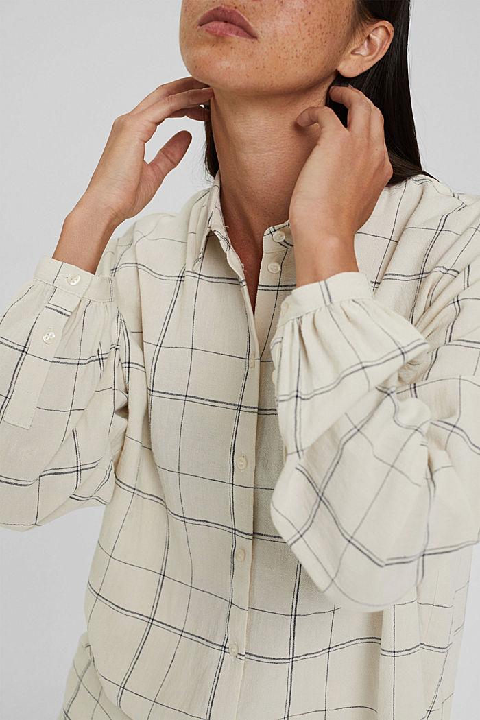 Van een linnenmix: geruite overhemdblouse, OFF WHITE, detail image number 2